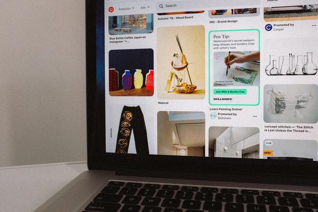 macbook pro displaying pinterest page