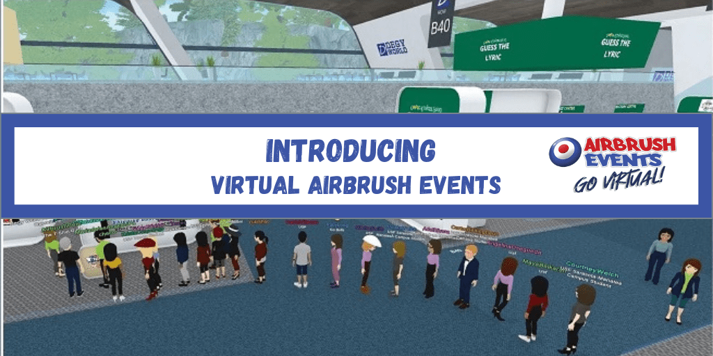 a long line of people wait virtually for a virtual airbrush event