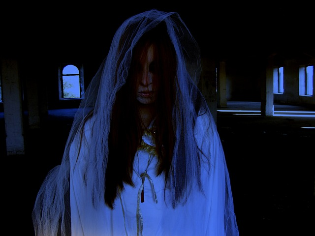 a woman dressed as a scary ghost in white - halloween themes